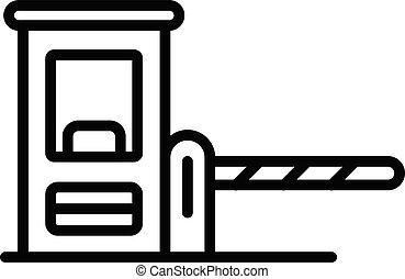 アイコン, スタイル, アウトライン, 障壁, 駐車