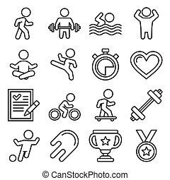 アイコン, スタイル, スポーツ, 線, set., ベクトル, wellness, フィットネス
