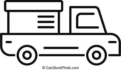 アイコン, スタイル, トラック, 出産, 牽引, アウトライン