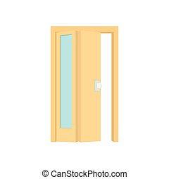 アイコン, スタイル, ドア, 開いた, 漫画