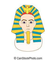 アイコン, スタイル, ファラオ, 漫画, エジプト人
