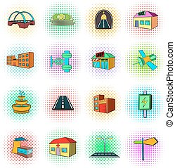 アイコン, スタイル, 下部組織, セット, pop-art, 都市