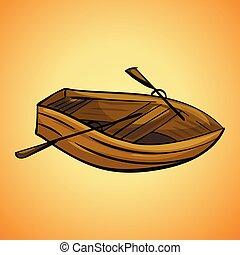 アイコン, スタイル, 木, 漫画, ボート