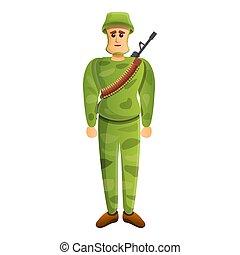 アイコン, スタイル, 漫画, 兵士, ライフル銃