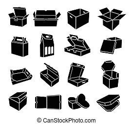 アイコン, スタイル, 箱, 別, セット, 形, 単純である