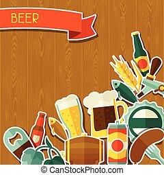 アイコン, ステッカー, ビール, オブジェクト, デザイン, 背景