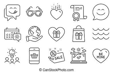 アイコン, セット, そのような物, セール, smartphone, waves., 購入, ホリデー, ベクトル