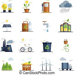 アイコン, セット, エコロジー