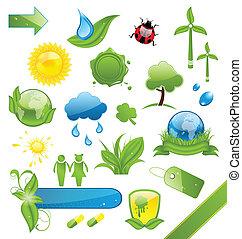 アイコン, セット, エコロジー, 緑