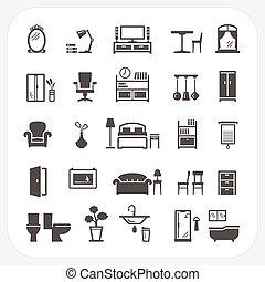 アイコン, セット, オブジェクト, 内部, 家, 家具