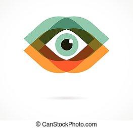 アイコン, セット, カラフルである, 目
