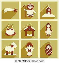 アイコン, セット, クリスマス, 影, 平ら, 長い間