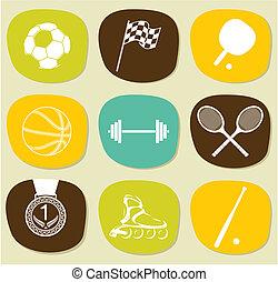 アイコン, セット, スポーツ