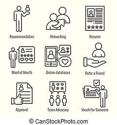 アイコン, セット, プロセス, 参照, 紹介, 従業員, ネットワーキング, 推薦