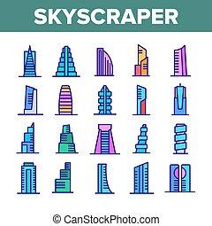 アイコン, セット, ベクトル, 建物, コレクション, 超高層ビル