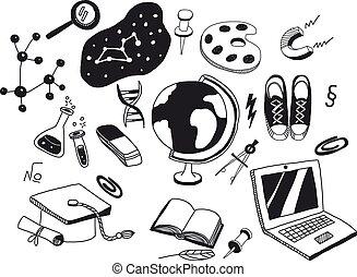 アイコン, セット, ベクトル, 教育
