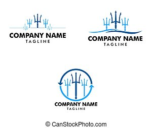 アイコン, セット, ロゴ, テンプレート, trident, イラスト, デザイン, ベクトル