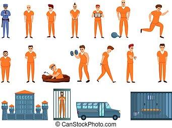 アイコン, セット, 刑務所, 漫画, スタイル