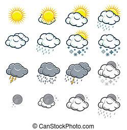 アイコン, セット, 天候