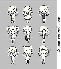 アイコン, セット, 子供, 幸せ