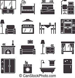 アイコン, セット, 家具, 内部