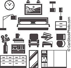 アイコン, セット, 家具, 寝室