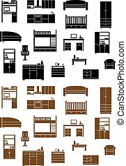 アイコン, セット, 平ら, 家具