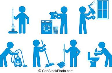アイコン, セット, 清掃, 数字, 人々
