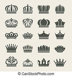 アイコン, セット, 王冠