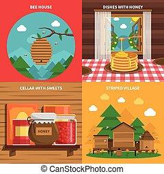 アイコン, セット, 蜂蜜, 概念