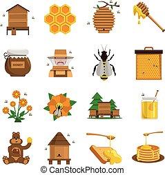 アイコン, セット, 蜂蜜