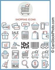 アイコン, セット, 買い物