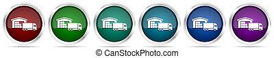 アイコン, セット, 6, ボタン, 貨物, 色, 網, 概念, 金属, 銀, 白, 出産, 隔離された, 倉庫, オプション, グロッシー, トラック, 背景