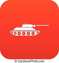 アイコン, タンク, 赤, デジタル