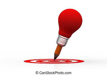 アイコン, ターゲット, 衝突, 電球, 創造的, ライト, 概念