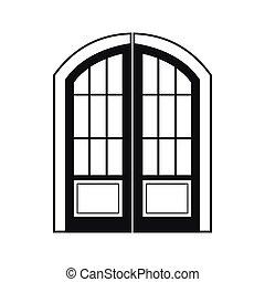 アイコン, ダブル, スタイル, ドア, 単純である