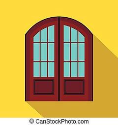 アイコン, ダブル, スタイル, ドア, 平ら