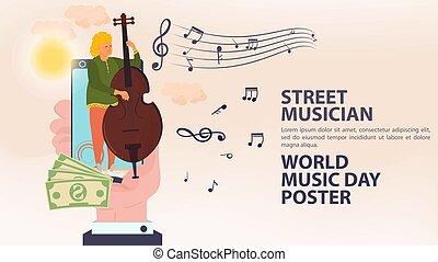 アイコン, ダブル, 日, 通り, ポスター, プレーする, 旗, 世界音楽, 音楽家, 保有物, それ, 人, 平ら, 漫画, 電話, イラスト, モビール, ベクトル, ベース, 手, メモ