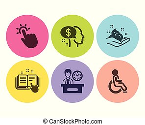アイコン, テクニカル, set., ドキュメンテーション, touchpoint, 不具, ベクトル, 時間, 給料, スキンケア, プレゼンテーション, signs.