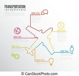 アイコン, テンプレート, レポート, ライン, ベクトル, infographic, 作られた