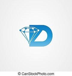 アイコン, テンプレート, 手紙, ロゴ, ダイヤモンド, 頭文字, d