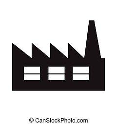 アイコン, デザイン, イラスト, 工場