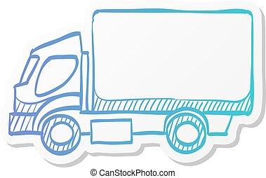 アイコン, トラック, -, ステッカー, スタイル