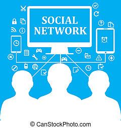 アイコン, ネットワーク, 社会