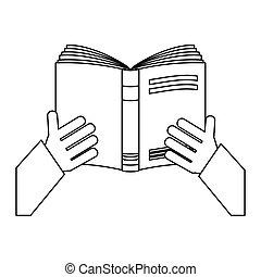 アイコン, ノート, 開いた, 数字, 手
