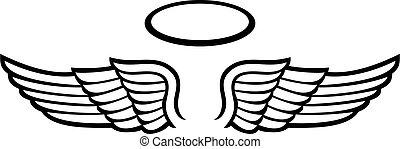 アイコン, ハロー, 翼, 天使, ベクトル