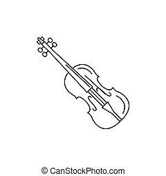 アイコン, バイオリン, スタイル, アウトライン