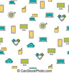 アイコン, パターン, -, seamless, コンピュータ, 薄いライン