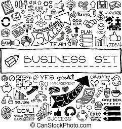 アイコン, ビジネス, セット, 手, 引かれる