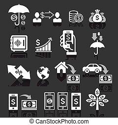 アイコン, ビジネス, set., 概念, 銀行業